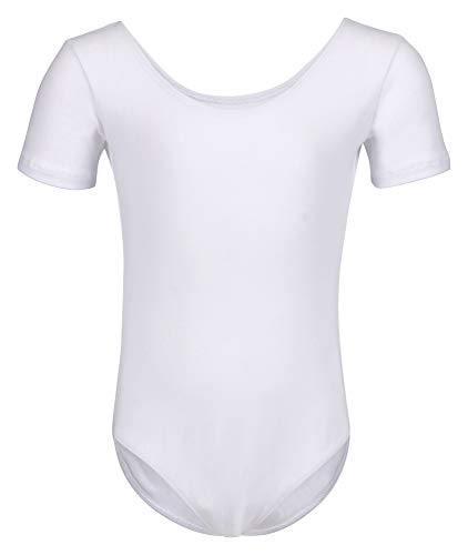 tanzmuster ® Ballettanzug Mädchen Kurzarm - Sally - (Größe 92-170) aus weichem Baumwollstoff Ballett Trikot Ballettbody in weiß, Größe 128/134
