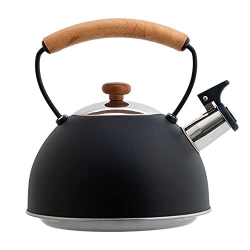Cutfouwe Caldera de Flauta de Acero Inoxidable 3L con Mango de Madera Elegante Retro para Estufa de Agua Caldera de inducción Silbato Universal para la Estufa de Gas e inducción,Negro
