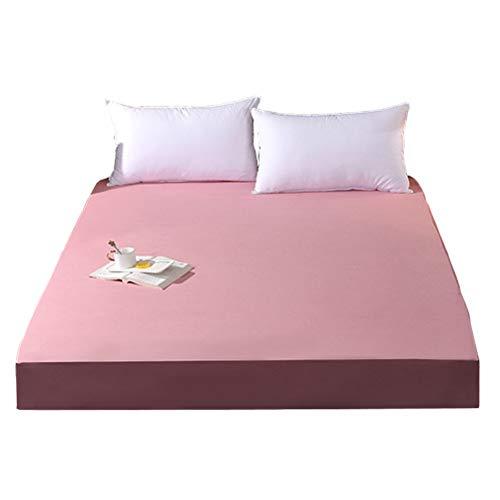 QIANGU Protector De Colchón Impermeable Transpirable Funda De Colchon para Dormitorios Resistente A La Abrasión Poliéster (30 Cm De Profundidad) (Color : Bean Paste, Size : 150x200x30cm)