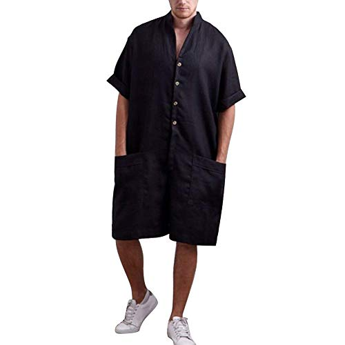 Huaheng Mannen Casual Oversized Losse Jumpsuit korte mouw Cargo Shorts Zomer Playsuit M Zwart