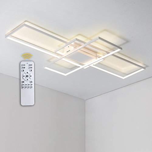 Modern Quadrat 115W LED Deckeleuchen Dimmbar Mit Fernbedienung Wohnzimmerlampe, Aluminium Acryl Deckenleuchte Chic Eckig Deckenlampe für Schlafzimmer Esszimmer Küche Flur Lampe, Weiß, 140*80*9cm