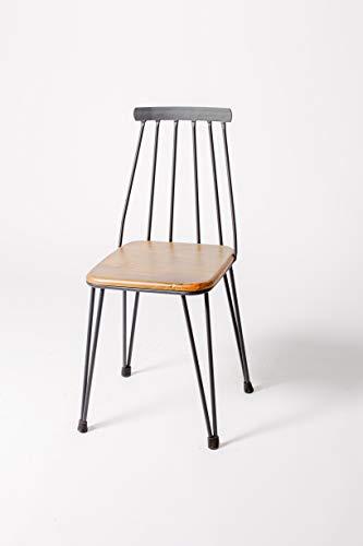 Sillas Comedor - Tribeca - 87 x 37 x 37 cm - Addecor - Estilo Industrial Vintage - Hierro y Madera Maciza - Color Negro - Diseño Loft - Sillas Nórdicas