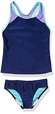 Speedo Girl's Swimsuit Two Piece Tankini Mesh Thick Strap