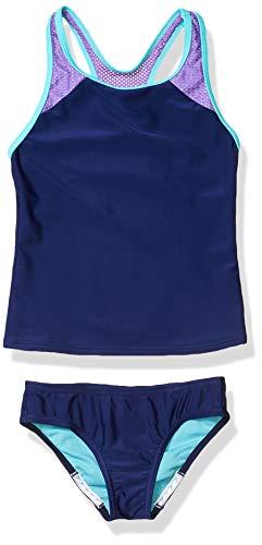 Speedo Girl's Swimsuit Two Piece Tankini Mesh Thick Strap Blue Harmony Mesh, 7