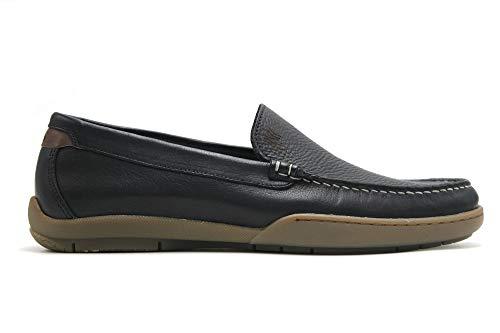 CALLAGHAN - Zapato mocasín de Piel, sin Cordones, Plano, Suela de Goma, Plantilla Extraible, para: Hombre Color: Marino Talla:42