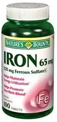 NB Iron Recommended 65MG Ranking TOP7 Ferrous SUL 100TB Nature's 41383 Bounty