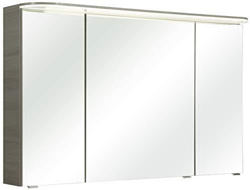 Pelipal Balto Sprint Bad Möbel, Spiegelschrank, LED Beleuchtung, Graphit Struktur quer NB 120 cm