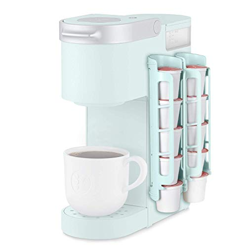 k cup storage solutions STORAGENIE K Cup Holder for Keurig K-cup,Coffee pod Storage, Side Mount   Wall Mount, Perfect for Small Counters (2 Rows/For 10 K Cups, OASIS BLUE)