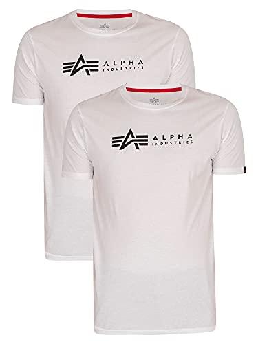 ALPHA INDUSTRIES Alpha Label T 2 Pack Camiseta, 09-White, 3XL para Hombre