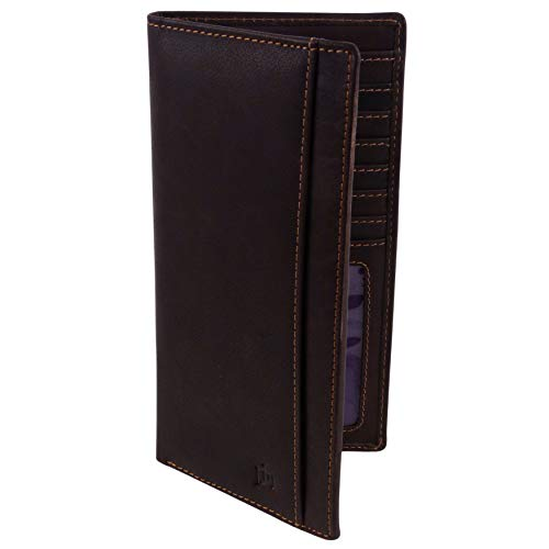 Mens Quality Leather Suit Jacket Wallet by PrimeHide Outback Collection RFID Protected Brown