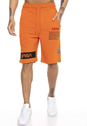 Red Bridge Herren Shorts Kurze Hose Sweat Pants Jogginghose NASA Logo USA Orange M