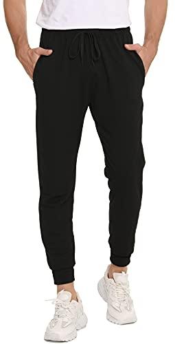 Vlazom Jogginghose Herren Baumwolle Jogger Männer Sporthose lang Trainingshose für Herren Outdoor Hose mit Kordelzug&Taschen Freizeithose im Ganzjahresstil(L,Stil A-Schwarz