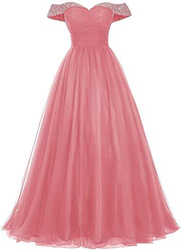 Abendkleider Lang Tüll Ballkleider Glitzer Brautjungfernkleider A-Linie Schulterfrei Hochzeitskleid Festkleider Rückenfrei Koralle 44