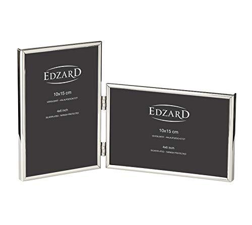 EDZARD Doppel-Fotorahmen Collage Otto für 2 Fotos 10 x 15 cm, Hoch-Querformat, edel versilbert, anlaufgeschützt, mit Samtrücken, Fotorahmen zum Stellen