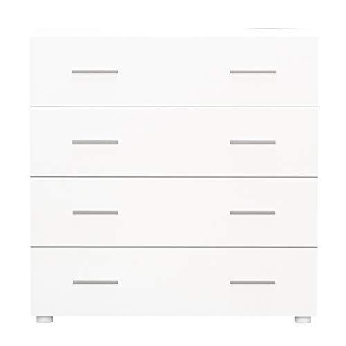 lyrlody Commode met 4 lagen, van hout voor slaapkamer, woonkamer, badkamer wit