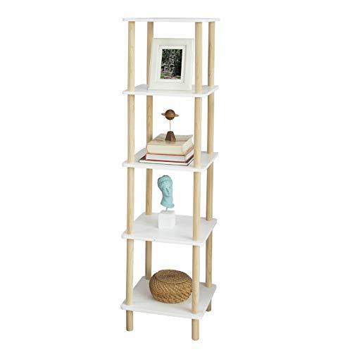 SoBuy STR04-K-WN Standregal mit 5 Ablagen Aufbewahrungsregal Bücherregal Küchenregal Hochregal Badregal Beine aus Kiefer weiß/Natur BHT ca: 36x138x36cm