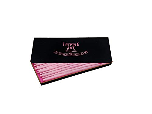 Trippie Jay Pink 1 1/4 Size Pre Rolled Cones in a Wooden Box | 50 Pack | Vegan & Non GMO | Includes 10 Packing Sticks | (84 mm/3.3 inches)