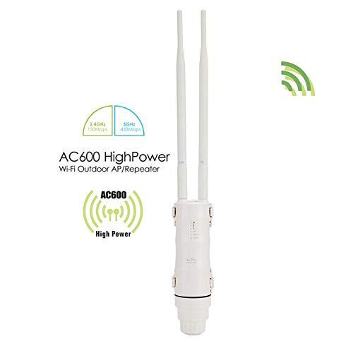 Wendry Extensor de WiFi, Extensor de WiFi Inalámbrico, Repetidor de Ap para Exteriores de Alta Potencia AC600, Banda Dual 2.4G + 5G, Velocidad de 600 Mbps, Instalación fácil y colocación Flexible(UE)