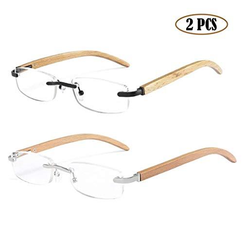 Houten frame Leesbril Randloos Presbyopie Draagbaar Heren Dames Vintage Leesglas Lichtgewicht Comfortabele Super-elastische brillen (2 stuks),+ 1.5