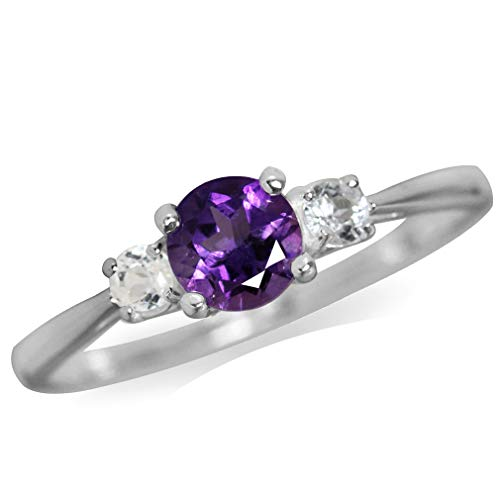 Silvershake Petite Natural African Amethyst and White Topaz 925 Sterling Silver Ring Size 7.5