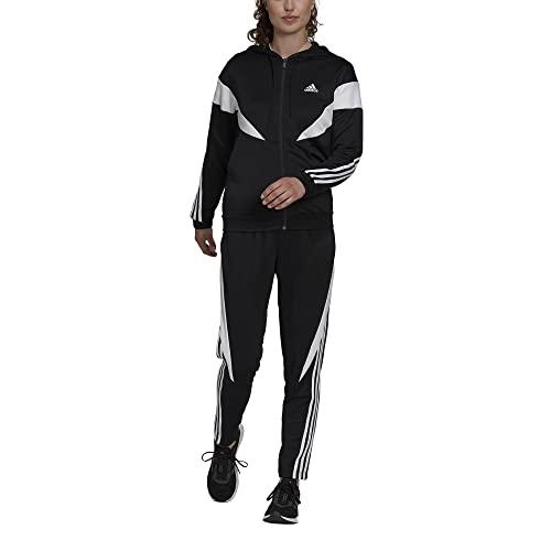 adidas Womens W Colorblock Ts Trainingsanzug, Black/White, L