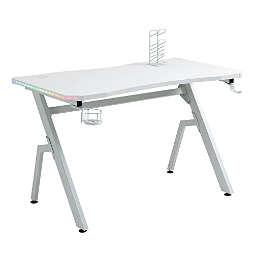 HOMCOM Gaming Desk Racing Style Home Office Ergonomic Computer Table Workstation with RGB LED Lights, Hook, Cup Holder, Controller Rack & Cable Management, White