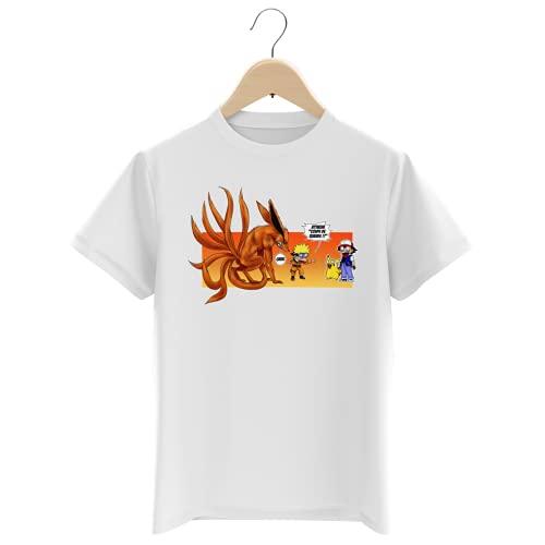 T-Shirt Enfant Garçon Blanc Parodie Naruto - Pokémon - Pikachu et Kyubi - Un Nouveau dresseur. (T-Shirt Enfant de qualité Premium de Taille 11-12 Ans - imprimé en France)