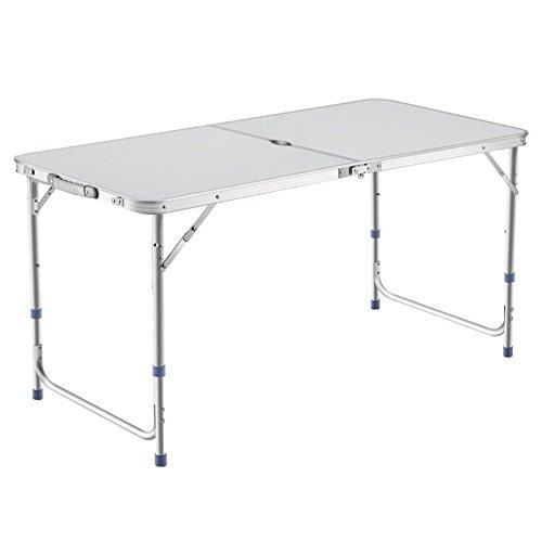 DesertFox アウトドア 折りたたみ テーブル 120×60×(55-62-70)cm 3WAY 自由に高さ調整可能 ピクニック レジャー キャンプ 用 (銀 パラソル穴付き A1)