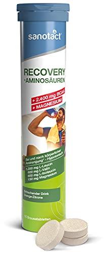 sanotact Recovery Drink Brausetabletten • 15 Brausetabletten Magnesium hochdosiert • Mit BCAA, Magnesium, Vitamin B6 & Calcium • Anwendung vor und während dem Sport