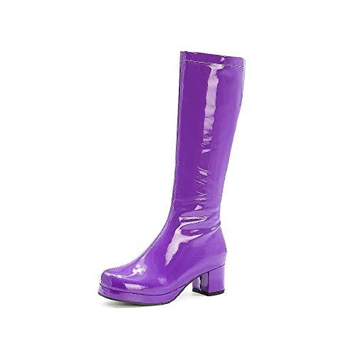 TAOBEGJ Damen Kniehohe Stiefel Lackleder Lange Stiefel Western Cowboy Knight Reitstiefel Mode Motorradstiefel Runde Zehenstiefel Mit Niedrigem Absatz,Purple-43
