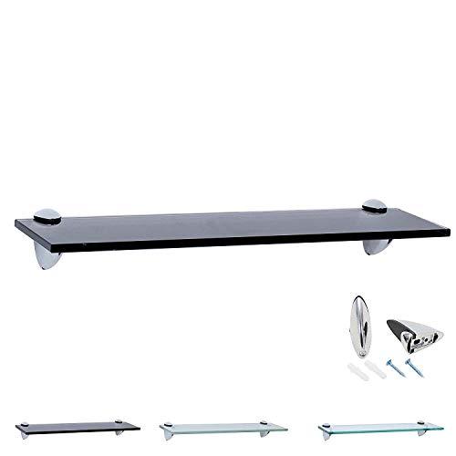 Rapid Teck Glas Wandregal Schwarz Glanz 50cm x 20cm - Glasregal mit 8mm ESG Sicherheitsglas - Glasregal perfekt als Badablage Glasablage für Badezimmer - Verschiedene Größen wählbar