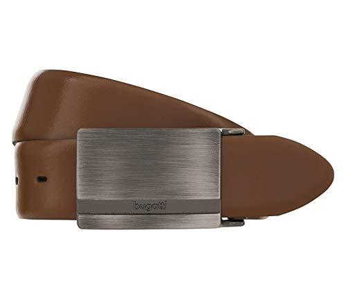 Bugatti Gürtel Leder Herrengürtel Ledergürtel Kürzbar Cognac Braun 2706, Farbe:Braun, Länge:125