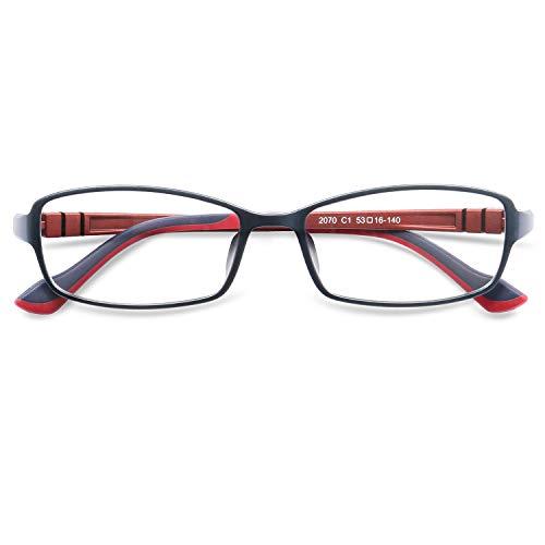 KOOSUFA Rechteckige Retro Brillengestelle Nerdbrille Herren Damen Brille Ohne Sehstärke Streberbrille Optische Stärke Rahmen Brillenfassung mit Etui (Blau+rot)