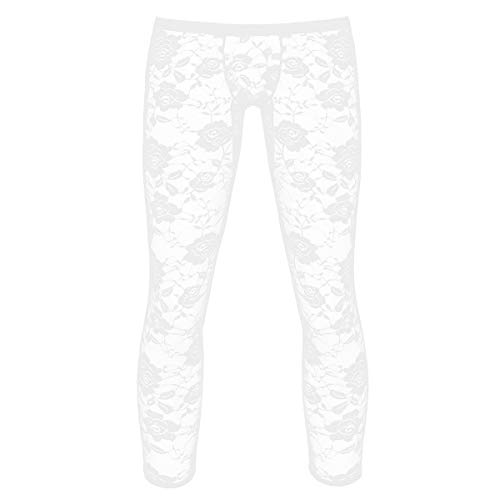 ranrann Herren Capri Leggings Strumpfhosen Pantyhose aus Blumen Spitzen Durchsichtig Dessous Unterwäsche Elastisch Weiß Large