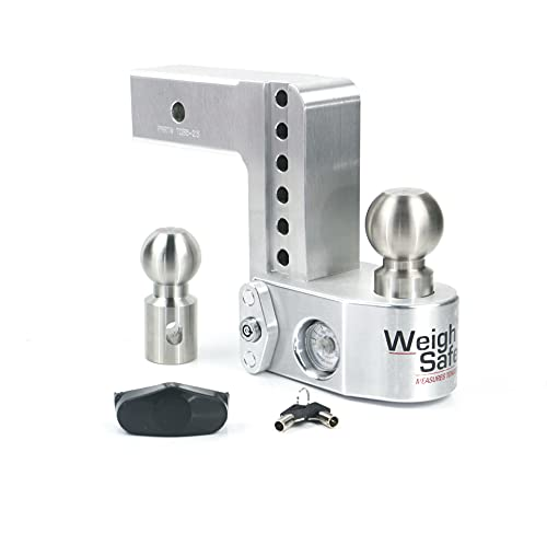 """Weigh Safe WS6-2-KA, 6"""" Drop Hitch, 2"""" Receiver 12,500 LBS GTW - Adjustable Aluminum Trailer Hitch Ball Mount w/ Built-in Scale, 2 Stainless Steel Balls, Keyed Alike Key Lock and Receiver Pin"""