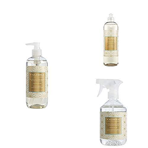 Caldrea Kitchen Set, Gilded Balsam Birch, 3 ct: Dish Soap (16 fl oz), Hand Soap (10.8 fl oz), Countertop Spray (16 fl oz)