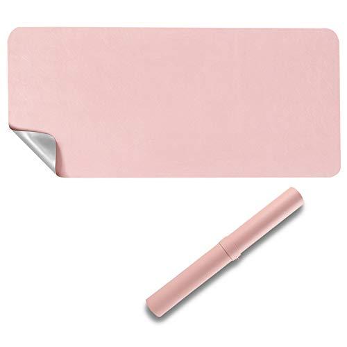 Protector de escritorio de doble cara, 80 x 40 cm, poliuretano impermeable, alfombrilla para ratón, color rosa y gris