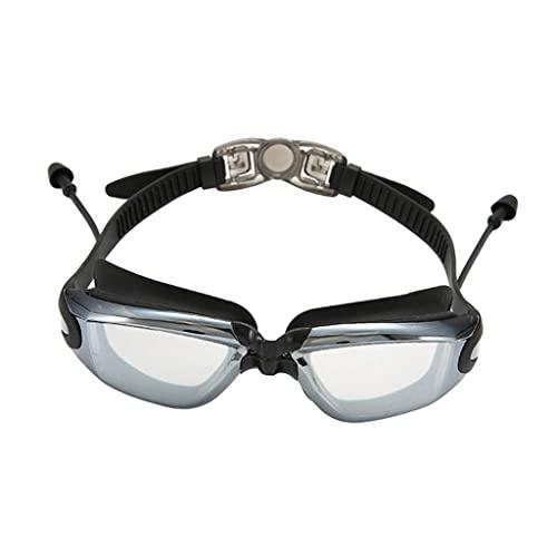 Sharplace Gafas de natación de Silicona con tapón para los oídos Gafas de luz Planas Impermeables antivaho para bucear - Negro Transparente