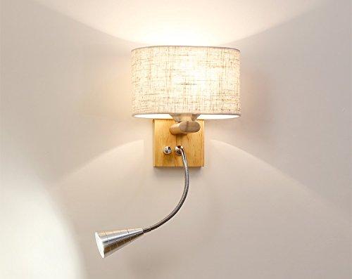 Applique murale moderne, Applique murale en bois avec lampe de lecture flexible 3W LED, Abat-jour en tissu, Interrupteur à 3 positions (Design : Fabric Shade)
