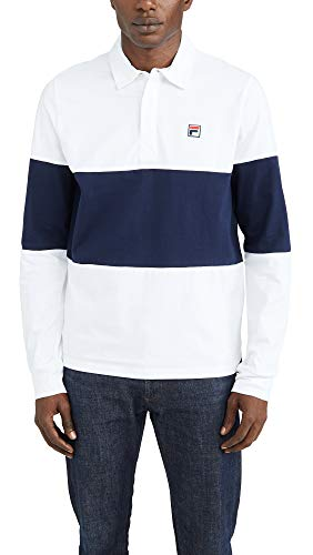 Fila Men's Frederick Long Sleeve Rugby Shirt, White/Peacoat, Large