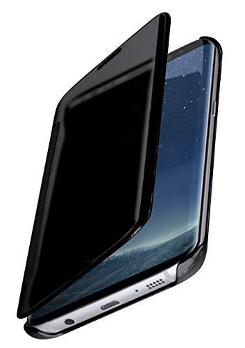 moex Dünne 360° Handyhülle passend für Samsung Galaxy S8 Plus | Transparent bei eingeschaltetem Bildschirm - in Hochglanz Klavierlack Optik, Anthrazit