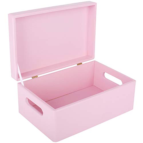 Creative Deco Rosa Große Holzkiste Aufbewahrungsbox Spielzeug | 30 x 20 x 14 cm | Mit Griff | mit Deckel | Truhe zum Dekorieren | Perfekt für Dokumente, Wertsachen, Spielzeug und Werkzeuge