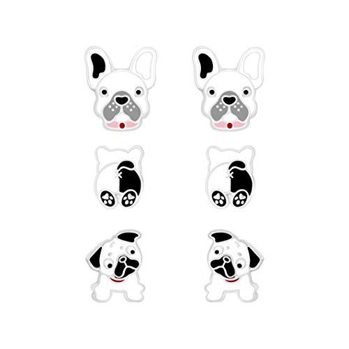 Pendientes de plata de ley 925 con diseño de perro de cartel, bulldog francés, plata de ley, 3 pares