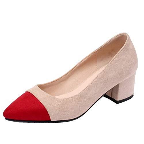 RAZAMAZA Femmes Mode Bout Pointu Escarpins Bloc Talons a Enfiler Base Escarpins Deux Tons Confort Fête Chaussures Red Taille 32 Asiatique