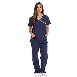 11142W Just Love Women's Scrub Sets / Medical Scrubs / Nursing Scrubs - S, Navy with Light Pink Trim,Navy With Light Pink Trim,Small