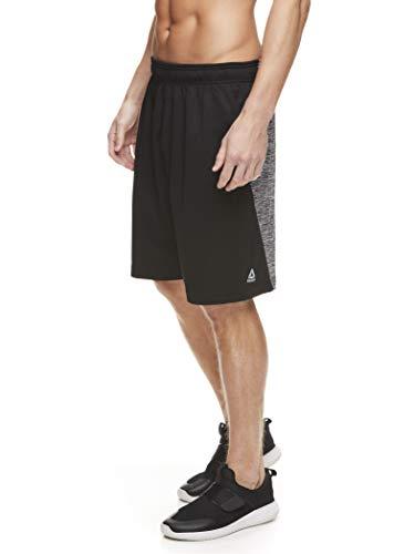 Reebok Men's Drawstring Shorts - Athletic Running & Workout Short w/Pockets - Black Squat Rack, Large