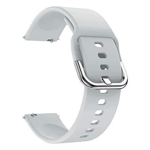 EWENYS Correa de repuesto para deportiva silicona suave de smartwatch, Compatible con Samsung Galaxy Watch Active 2 40mm 44mm / Garmin vivoactive 3 / Amazfit GTS GTR 42mm (20mm, Gris)