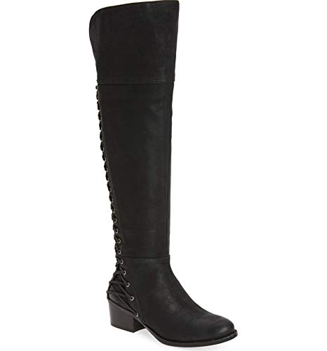 Vince Camuto Bestan Black Leather Over The Knee Fitted Riding Corset Boot (7, Black-Corset)