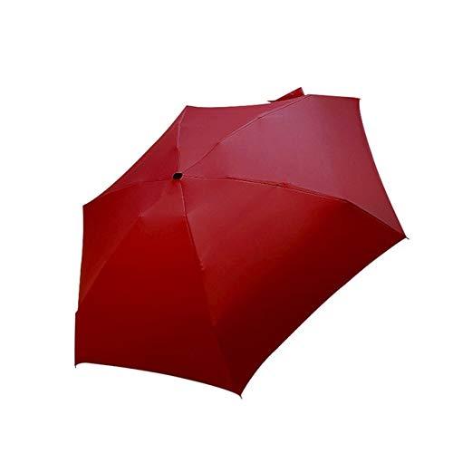 Mdsfe paraplu, parasol, regen, dames, plat, licht, opvouwbaar, mini-paraplu, klein formaat, eenvoudig op te bergen, rood, A1