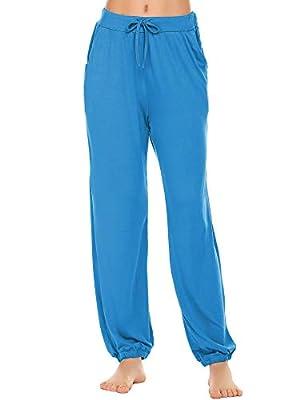 Ekouaer Women's Loungewear Pants Supersoft Terry Jogger Pant Blue